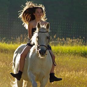 Free by Giselle Pierce - Babies & Children Children Candids ( child, field, girl, riding, dress, horse, gelding, kid )