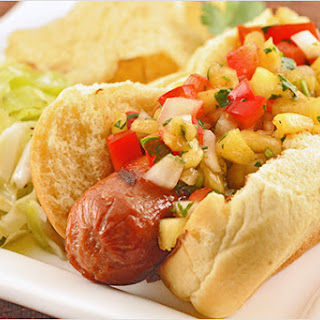 Grilled Hot Dogs with Pineapple-Pepper Relish