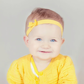 Yellow Sweater by Jenny Hammer - Babies & Children Babies ( girl, hands, baby, cute, smile )