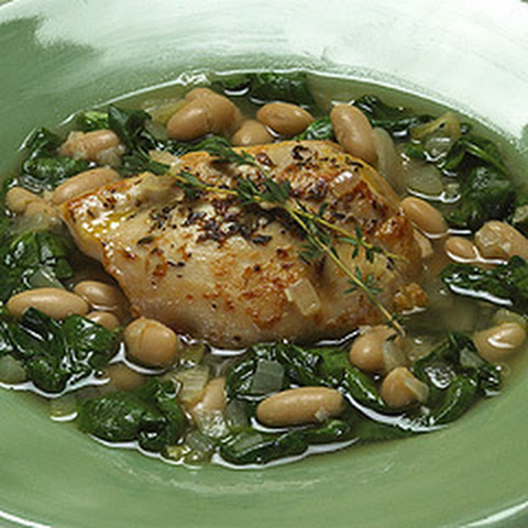 Braised Chicken With Baby Spinach & White Beans
