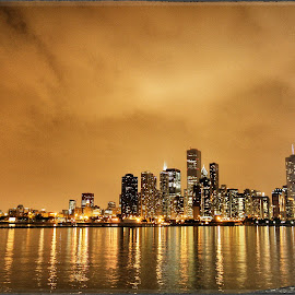 Chitown  by Zach Collins - City,  Street & Park  Skylines ( water, reflection, skyline, nightshot, chicago,  )
