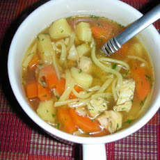 Chicken Noodle Soup With Carrots, Parsnips and Dill