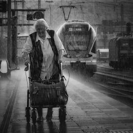 Hard Rain by Dietmar Pohlmann - People Street & Candids ( raining, railway, train, rain )