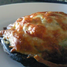 Bacon & Mozzarella Topped Portabella Mushroom With Pesto