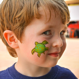 Turtle Face by Corey Nook - People Body Art/Tattoos ( face, paint, cute, turtle, boy, kid,  )