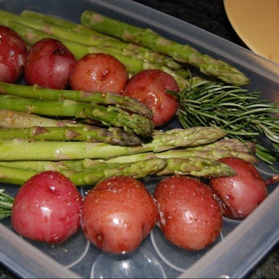 Rosemary Skewered Baby Red Potatoes with Skordalia