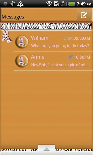 GO SMS THEME CuteZebra4U