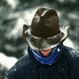 Winter wrangler by Mike O'Connor - People Street & Candids ( cowboy, winter, cold, snow, scarf, hat )