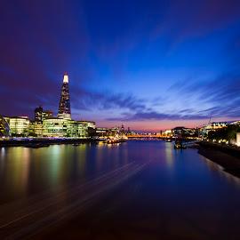 by Marko Pletikosa - City,  Street & Park  Night ( exposure, uk, london, blue, blue hour, sunset, reflections, night, long )