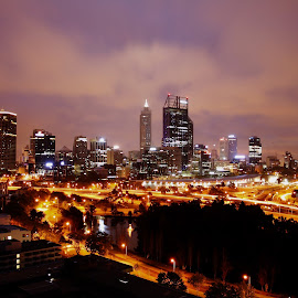 by Matty Gott - City,  Street & Park  Skylines ( west australia, perth, night )