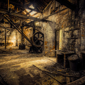 The Toolmaker's by Si Richardson - Buildings & Architecture Decaying & Abandoned ( urban exploration, old, wheel, wood, ue, ruin, mrdistopia, toolmakers, dystopia, urbex, dystopia photography, sheffield, dark, derelict, brown, closed, disused, light, abandoned )