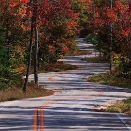 The road to nowhere. by Dixie Kurtz - Landscapes Travel ( highway, door county, travel photography, travel locations,  )
