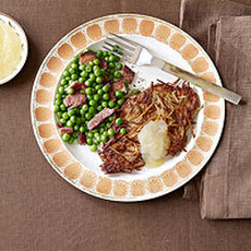 Potato-Crusted Pork Cutlets with Peas