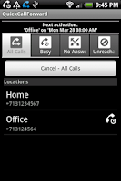 Screenshot of QuickCallForward