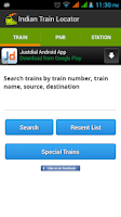 Screenshot of Indian Train Locator