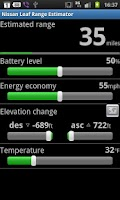 Screenshot of Nissan Leaf Range Estimator