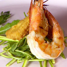 Grilled Shrimp with Zucchini, Almonds and Panelle
