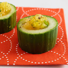Yellow Tomato Gazpacho in Cucumber Cups