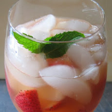 White Sangria With Fresh Strawberries, Mango and Mint