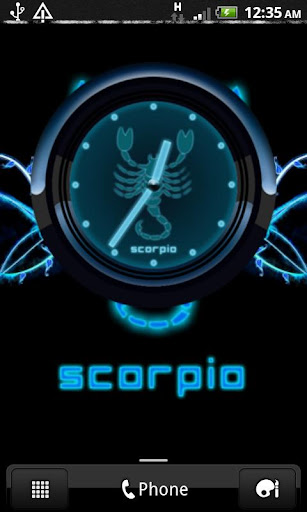 SCORPIO - Neon Blue Clock