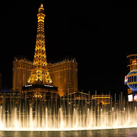 Fountains of Paris by Brent Huntley - Buildings & Architecture Office Buildings & Hotels ( bellagio, fountains, d3100, 18-270, landscape, tamron, photography, lights, las vegas, paris, tower, nevada, long exposure, casino, night, hotel, nikon, eifel,  )