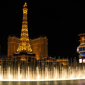 Fountains of Paris by Brent Huntley - Buildings & Architecture Office Buildings & Hotels ( brentsfavoritephotos.blogspot.com, bellagio, fountains, d3100, 18-270, landscape, tamron, photography, lights, las vegas, paris, tower, nevada, night, casino, long exposure, hotel, nikon, eifel )