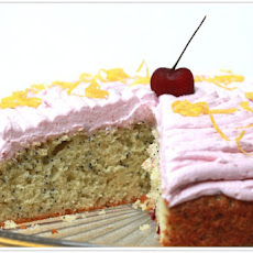 Lemon Poppy Seed Cake with Cherry Buttercream Frosting