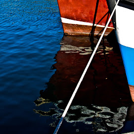 still a live  by Magdalena Wysoczanska - News & Events Business ( water, reflection, colorful, boat, anchor )