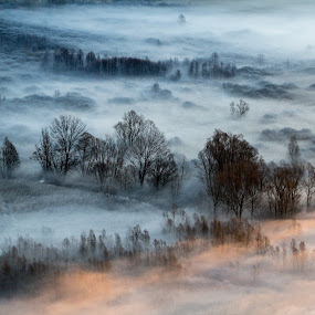 Mist at sunrise by Pietro Ebner - Landscapes Cloud Formations ( , golden hour, sunset, sunrise )
