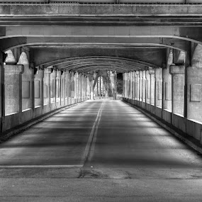 Under the Viaduct by Janice Poole - Transportation Roads ( kansas city, black and white, street, road,  )
