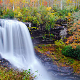 Dry Falls by Stephen Booth - Landscapes Waterscapes ( canon, dry falls, highlands nc, 7d, dry falls highlands nc, long exposure, highlands, tamron, fall color )