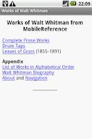 Screenshot of Works of Walt Whitman