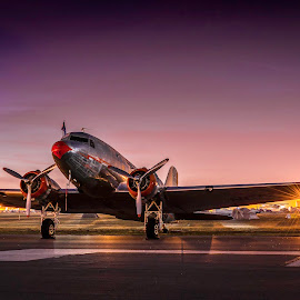 by Brent Clark - Transportation Airplanes ( vintage, airplane, dc-3, sunrise, transportation, airline, classic )