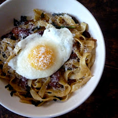 Fresh Fettucine with Bacon, Ramps and an Egg