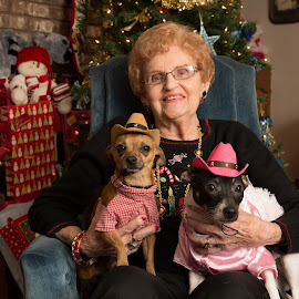 Xmas picture of Grandma Lucy, Zorro and Ziggy in their cowboy outfits by Pamela Joyner - People Family