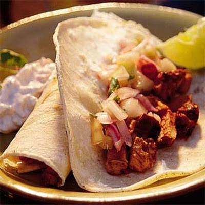 Adobo Grilled Pork Tacos with Cucumber-Radish Salsa