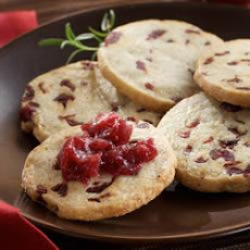 Savory Blue Cranberry Shortbread with Caramelized Onion Cranberry Jam