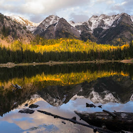 Fall Reflection by Nathan Jesse - Landscapes Mountains & Hills ( water, mountains, snow, fall, colorado, lake, aspens,  )