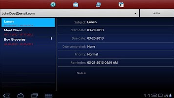 Screenshot of Exchange ActiveSync for Tablet