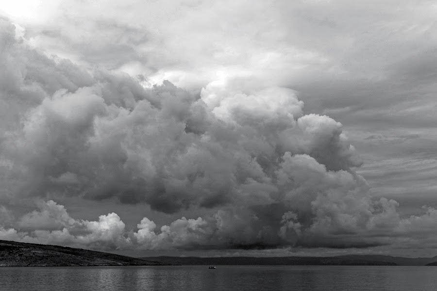 departure by Brut Carniollus - Landscapes Waterscapes ( stormy, clouds, marine, black and white, landscape, storm, weather,  )