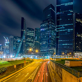 Traffic connector by Senthil Damodaran - City,  Street & Park  Street Scenes ( lines, traffic connector, marina bay, nightscape )