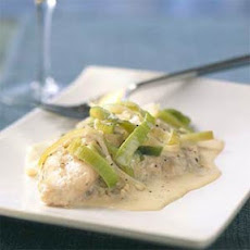 Poached Catfish with Leeks and Mustard