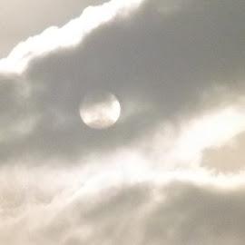 Moon behind clouds by Julie Jones - Landscapes Cloud Formations