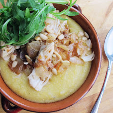 Creamy Polenta with Chicken, Caramelized Shallots, Arugula