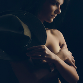 Cowgirl by Nicolas van der Merwe - People Portraits of Women ( model, topless, implied, cowgirl, nicolas, hat )