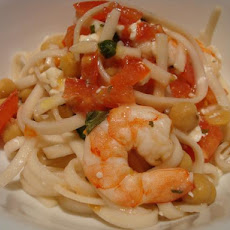 Spaghetti With Shrimp, Chickpeas, and Feta