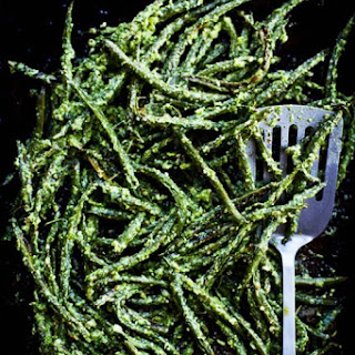 Roasted Green Beans with Vinegary Dill Sauce