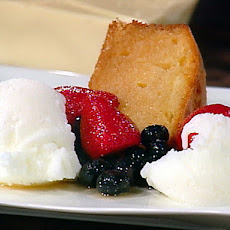 White Chocolate Buttermilk Cake with Macerated Berries and Buttermilk Ice Milk