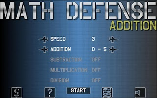 Screenshot of Math Defense - Addition