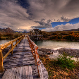 Estancia Cristina - Water wheel by Gary Aidekman - Landscapes Mountains & Hills ( patagonia, water wheel, bridge, landscape, river )